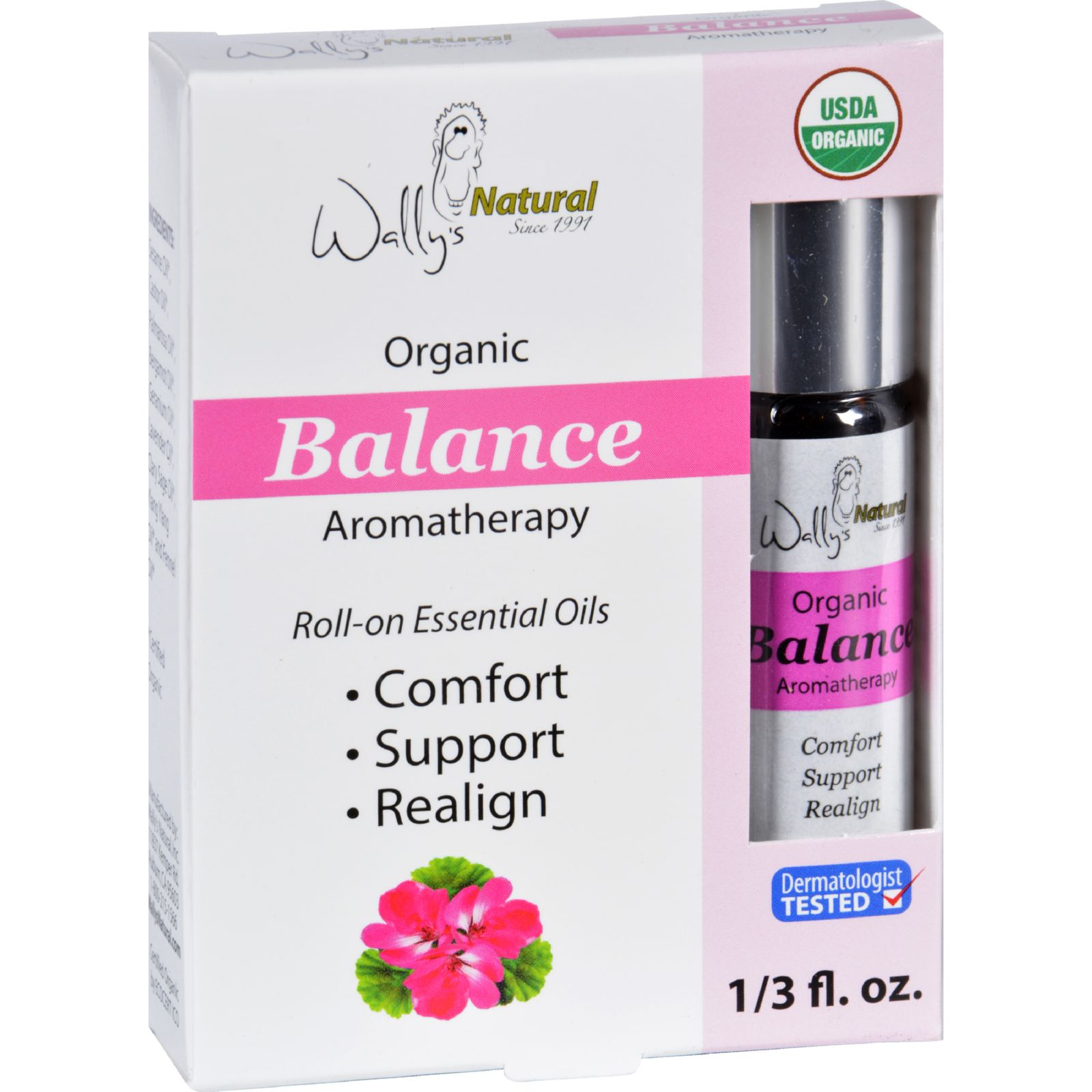 Wallys Natural Products Aromatherapy Blend  Organic  Roll On  Essential Oils  Balance  .33 oz