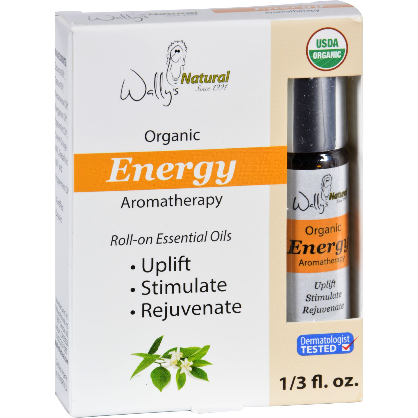 Wallys Natural Products Aromatherapy Blend  Organic  Roll On  Essential Oils  Energy  .33 oz