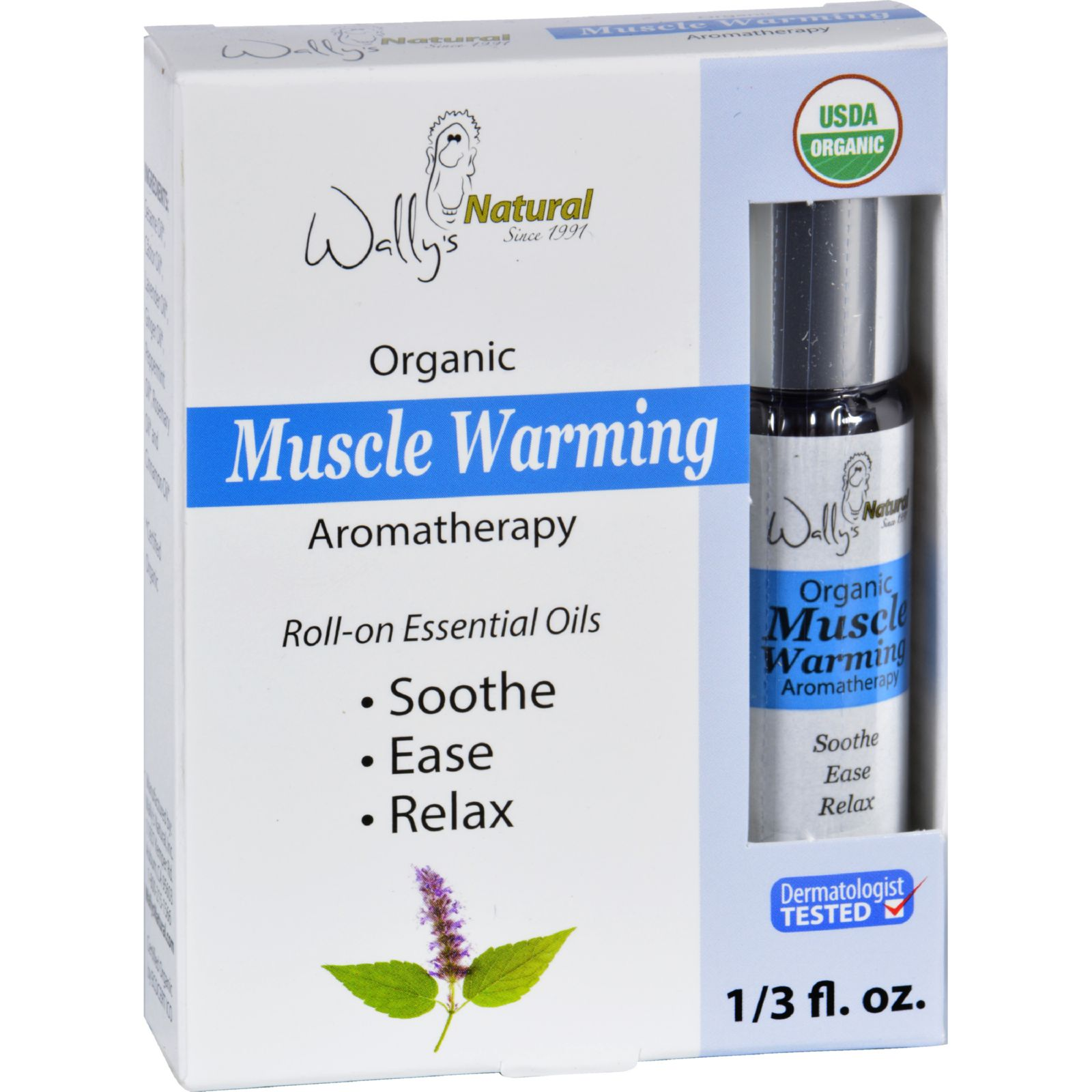 Wallys Natural Products Aromatherapy Blend  Organic  Roll On  Essential Oils  Muscle Warming  .33 oz
