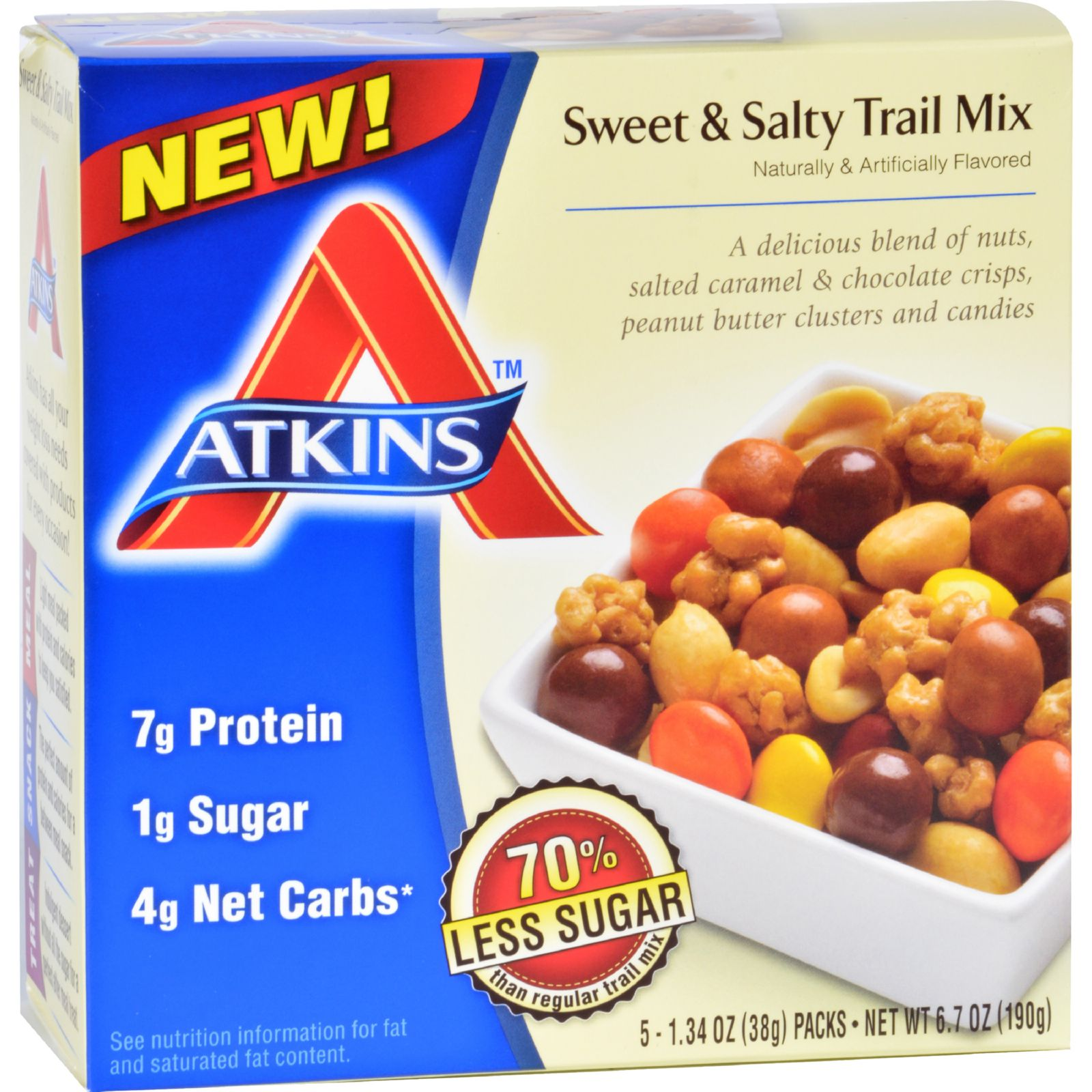 Atkins Trail Mix  Sweet and Salty  1.34 oz  5 Count  Case of 4