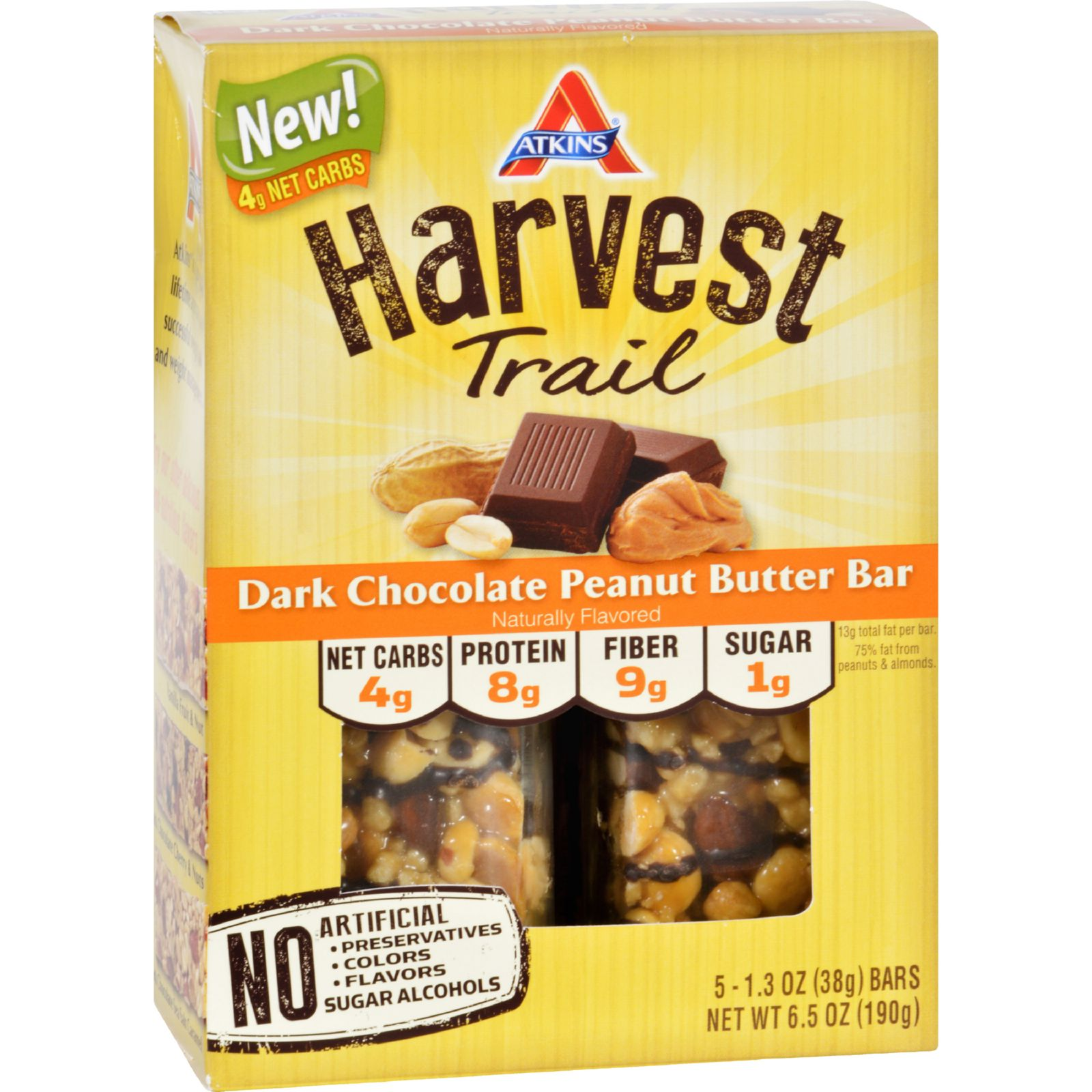 Atkins Harvest Trail Bar  Dark Chocolate Peanut Butter  1.3 oz  5 Count