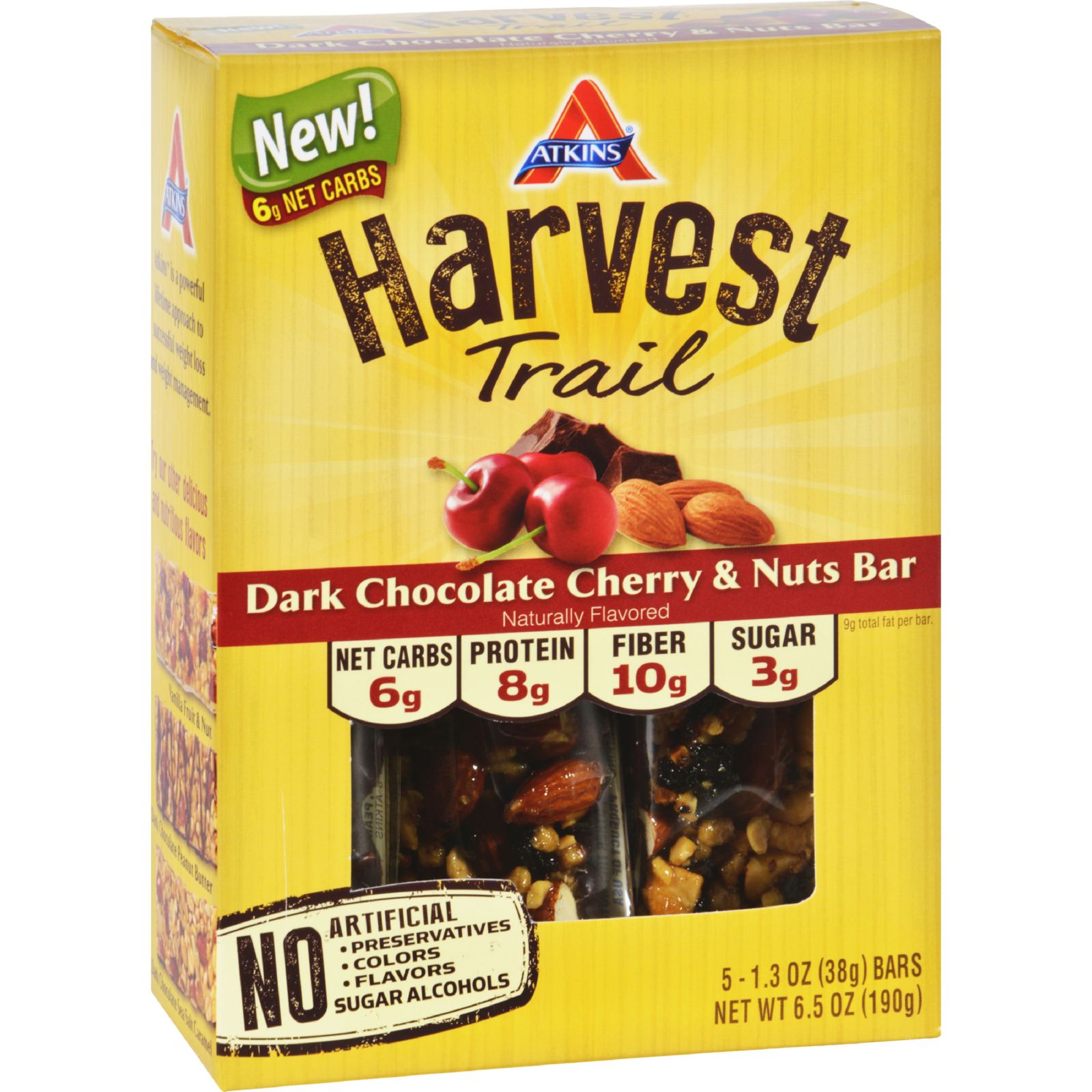 Atkins Harvest Trail Bar  Dark Chocolate Cherry and Nuts  1.3 oz  5 Count