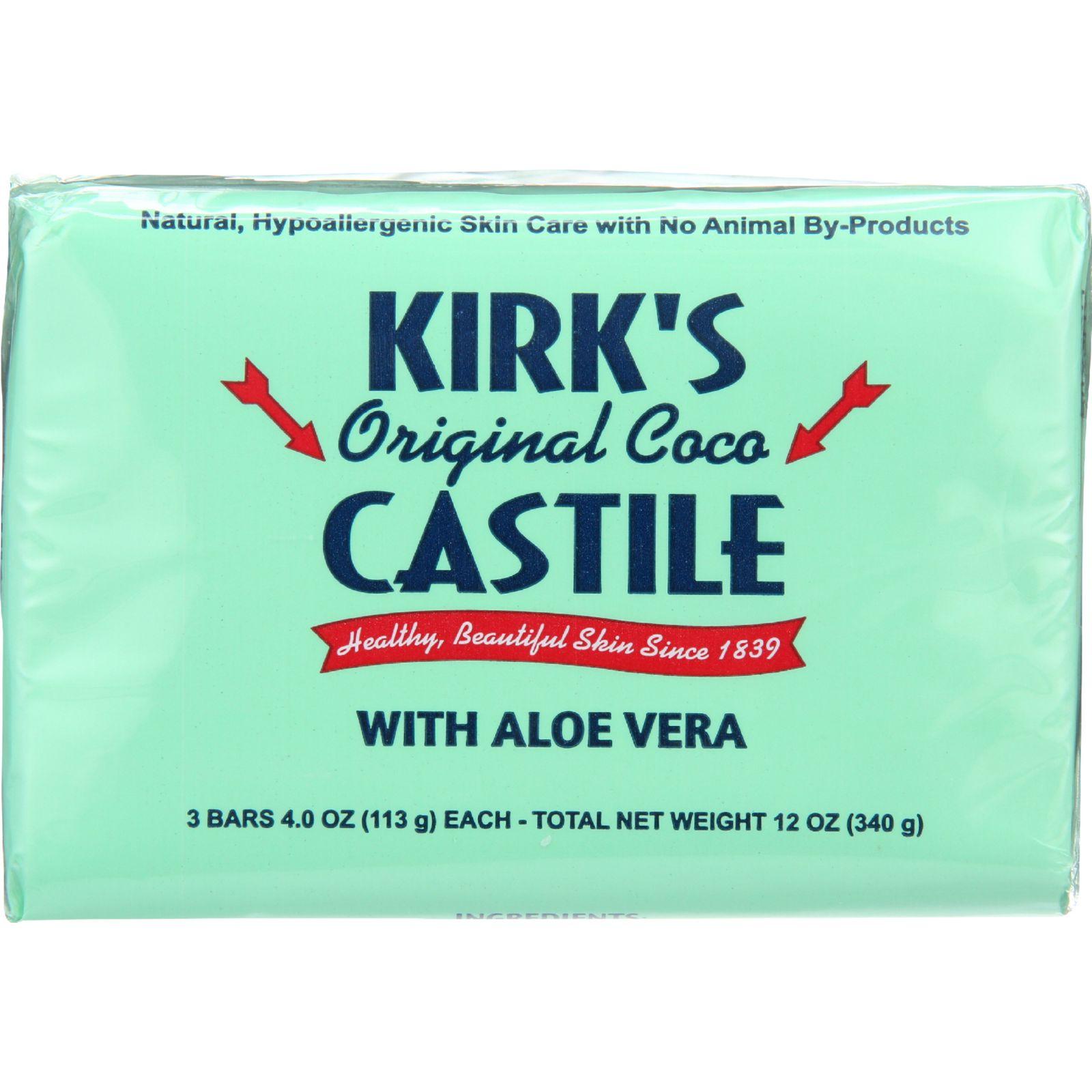 Kirks Natural Bar Soap  Coco Castile  Aloe Vera  4 oz  3 Pack