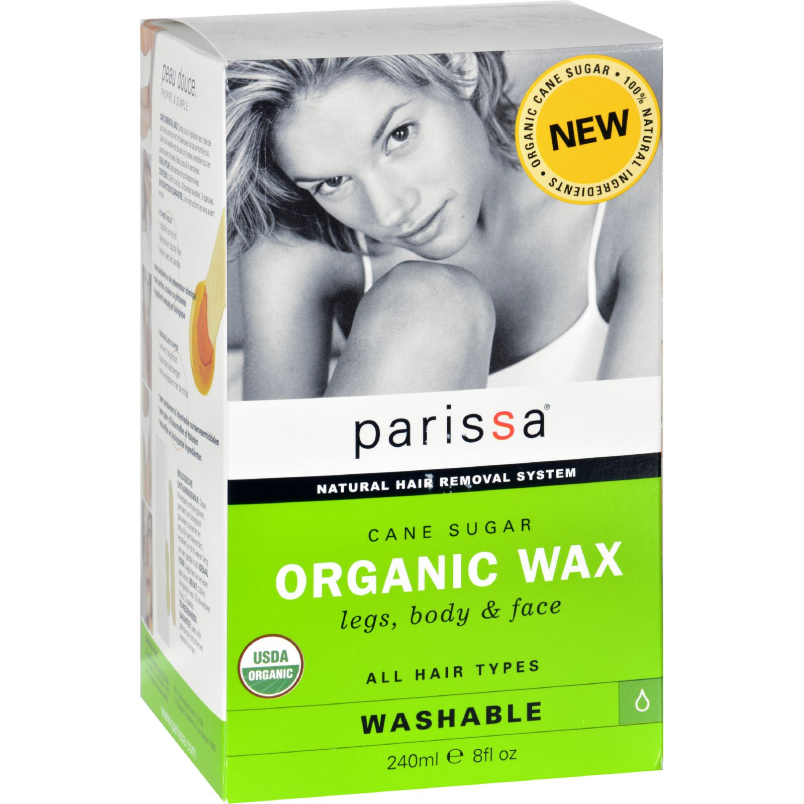 Parissa Hair Removal Wax  Organic  Cane Sugar  8 oz