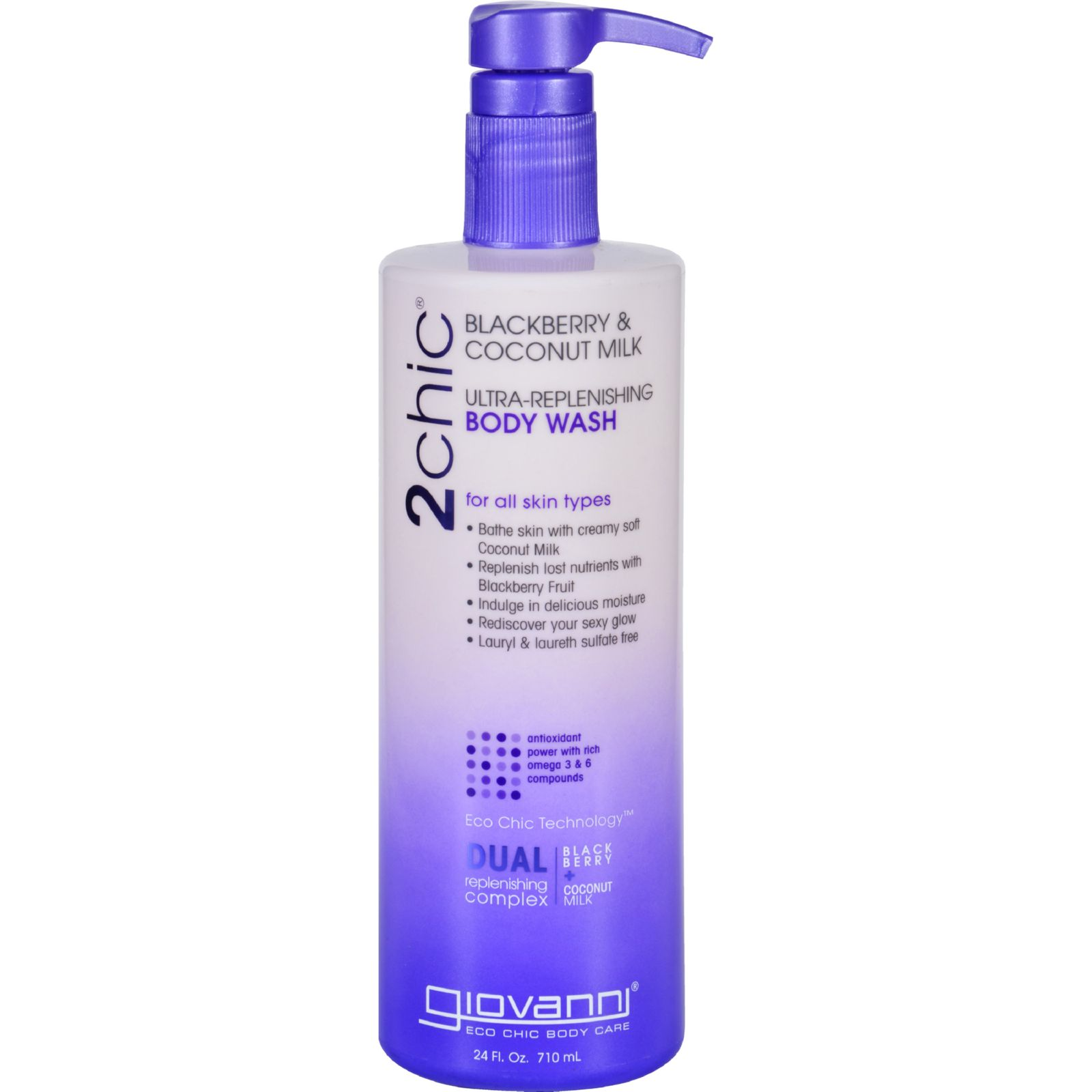 Giovanni Hair Care Products Body Wash  2chic  Repairing  Ultra Replenishing  Blackberry and Coconut Milk  Value Size  24 oz