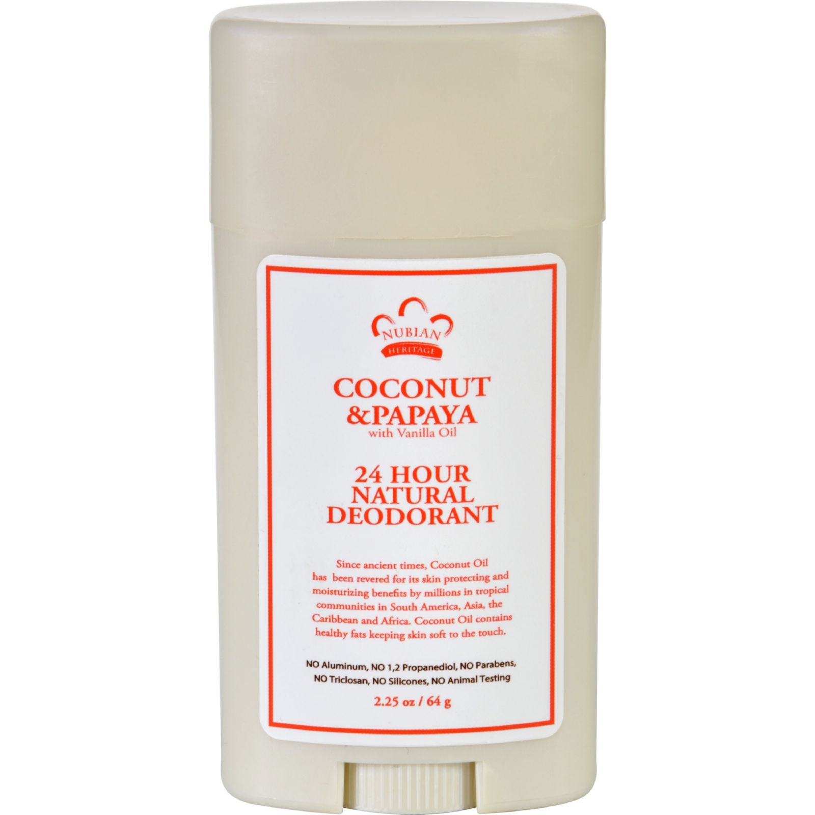 Nubian Heritage Deodorant  All Natural  24 Hour  Coconut and Papaya  with Vanilla Oil  2.25 oz
