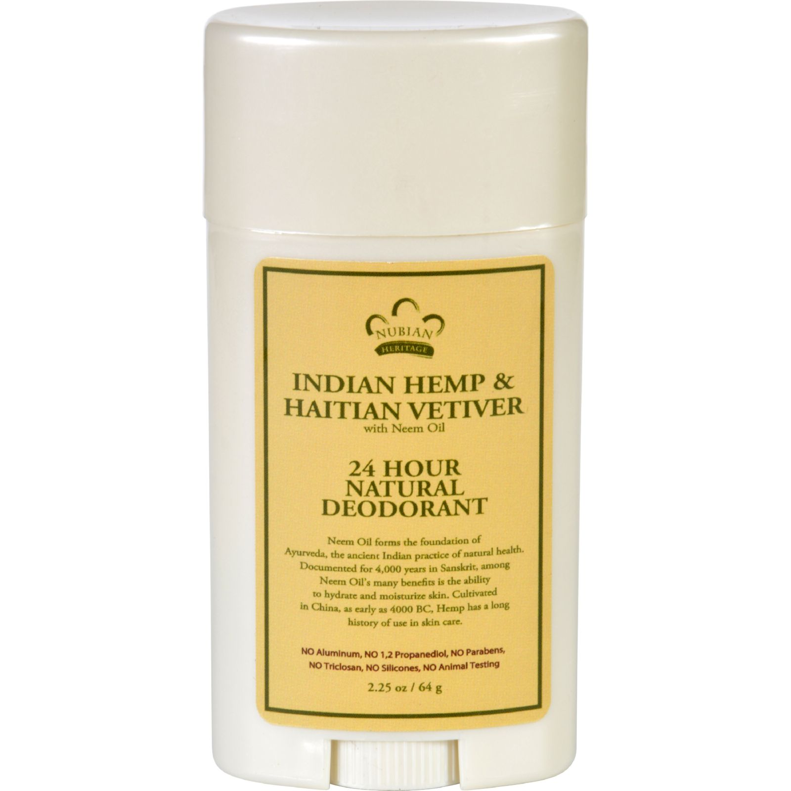 Nubian Heritage Deodorant  All Natural  24 Hour  Indian Hemp and Haitian Vetiver  with Neem Oil  2.25 oz