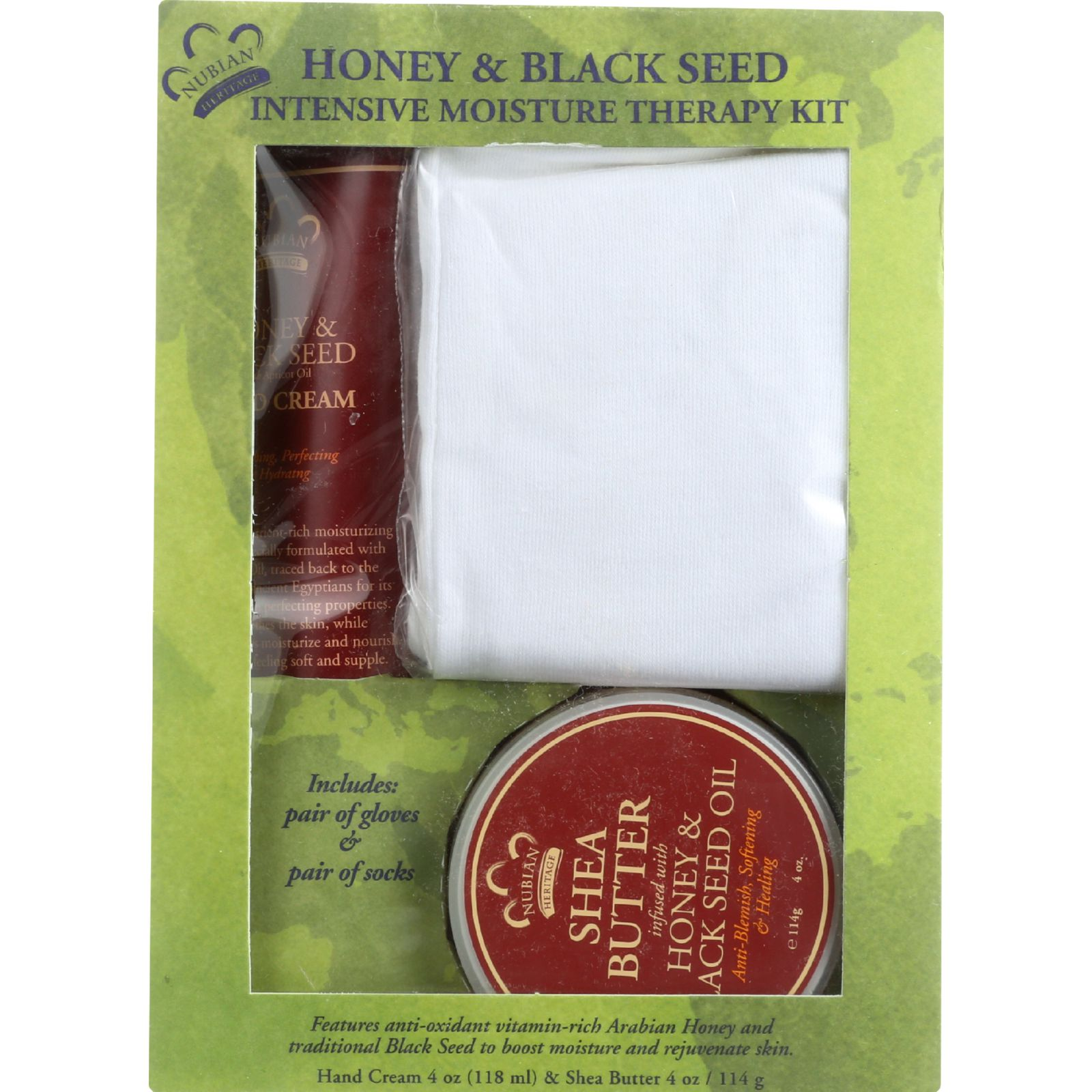Nubian Heritage Intensive Moisture Therapy Kit  Socks and Gloves  Honey and Black Seed  4 Pieces  1 Kit