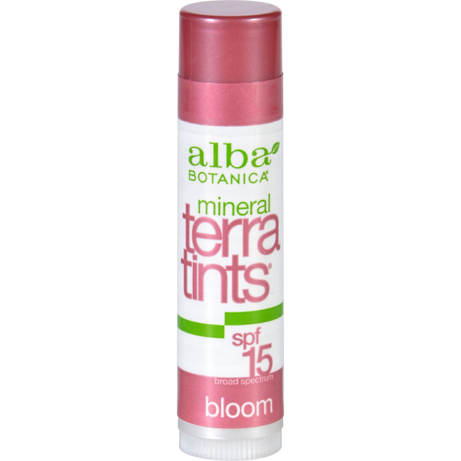 Alba Botanica Bloom TerraTints Lip Balm SPF 8  Case of 12  .15 oz
