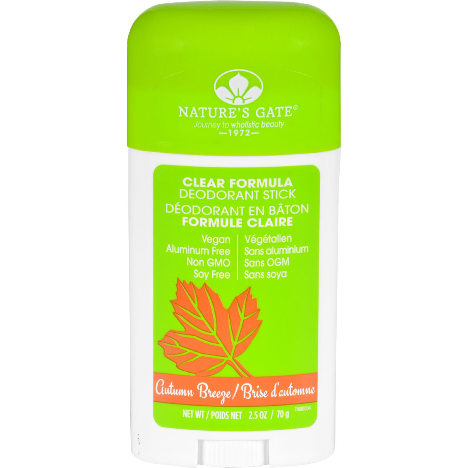 Natures Gate Deodorant  Stick  Clear Formula  Autumn Breeze  2.5 oz
