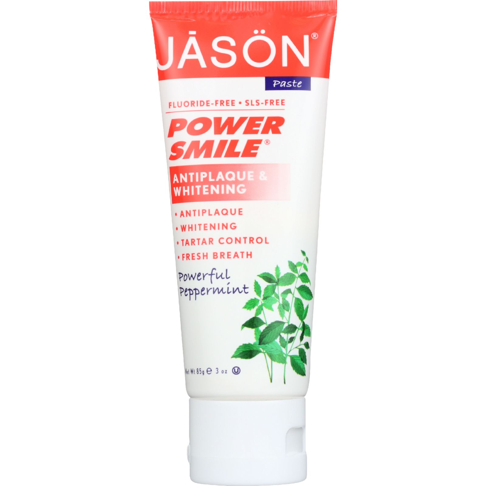 Jason Natural Products Toothpaste  Powersmile  Antiplaque and Whitening  Powerful Peppermint  Fluoride Free  3 oz  case of 12