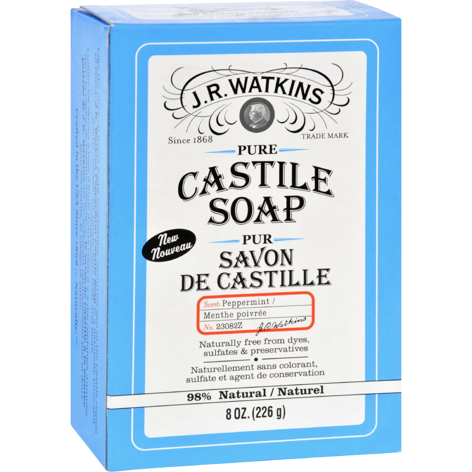 J.R. Watkins Bar Soap  Castile  Peppermint  8 oz