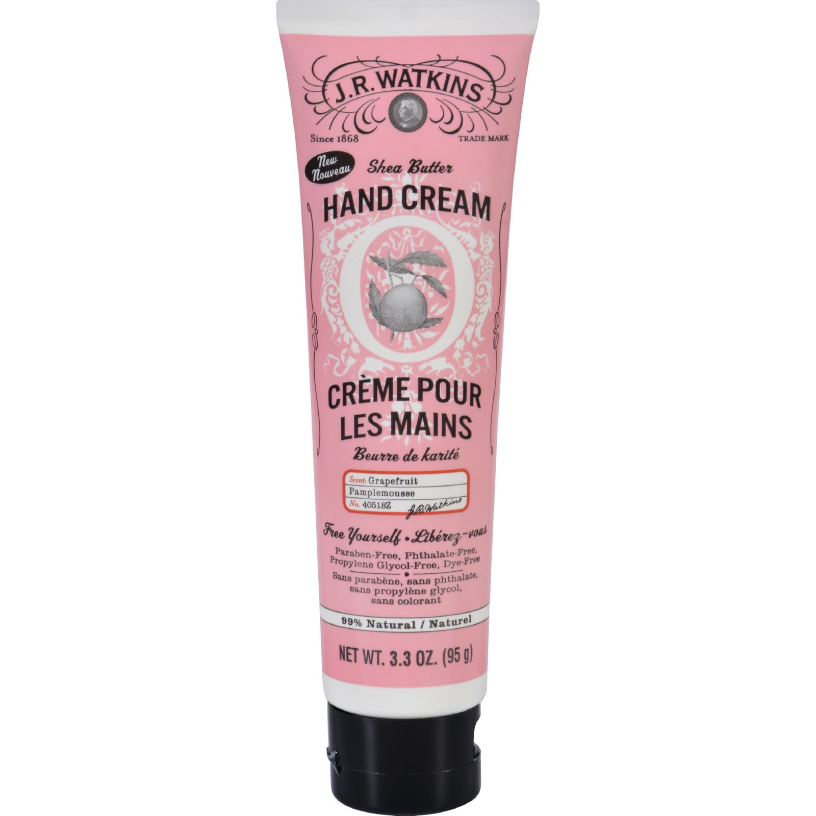 J.R. Watkins Hand Cream  Grapefruit  3.3 oz