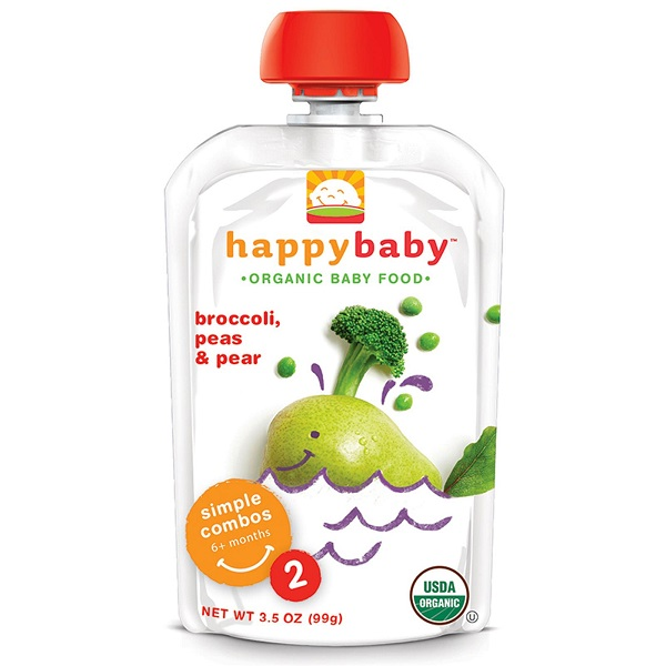 Happy Baby Broccoli, Pear & Pea (4x4x3.5 OZ)