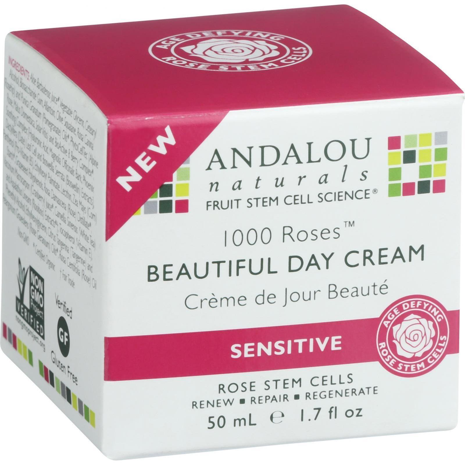 Andalou Naturals Beautiful Day Cream  1000 Roses  1.7 oz