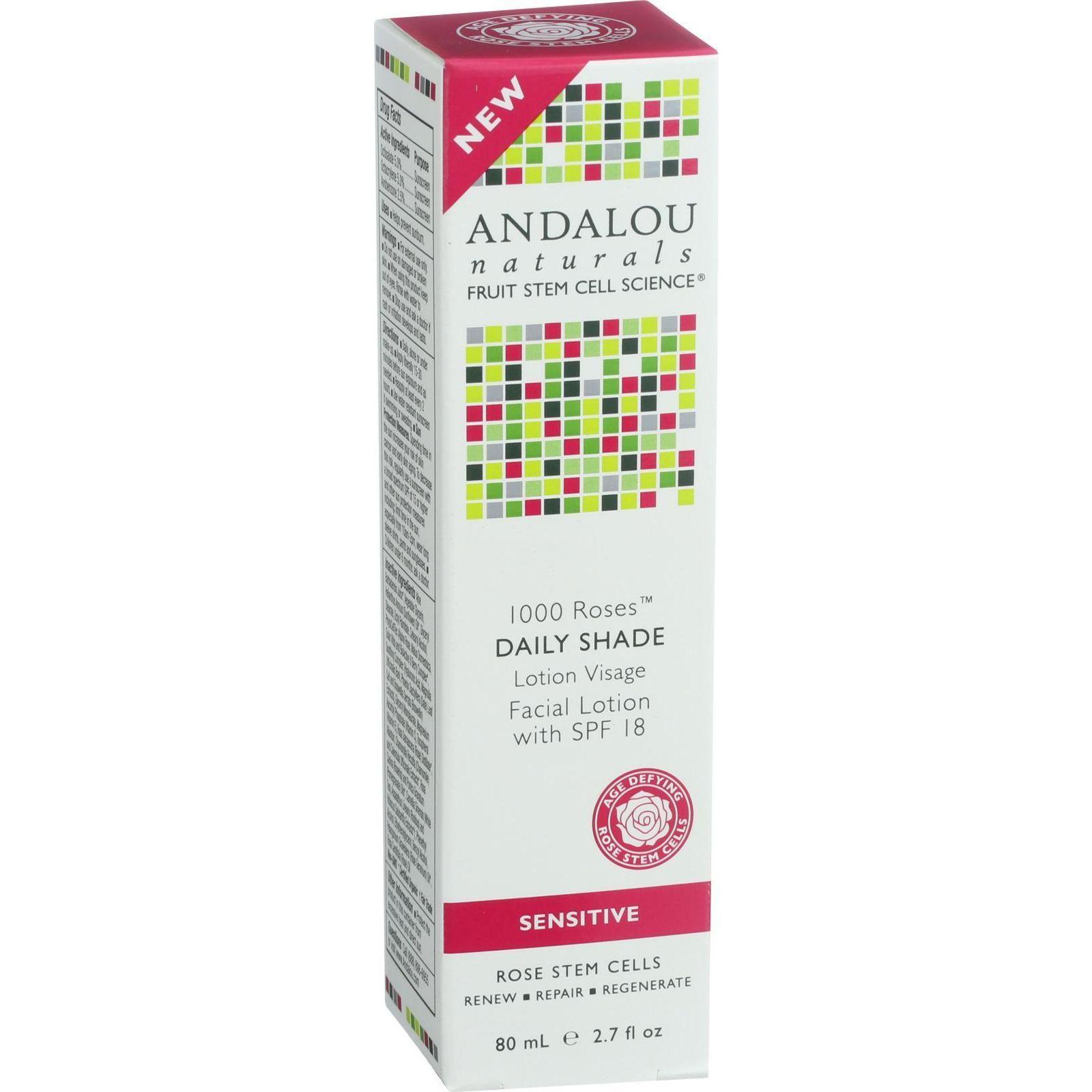 Andalou Naturals Facial Lotion  1000 Roses  Daily Shade SPF 18  2.7 oz