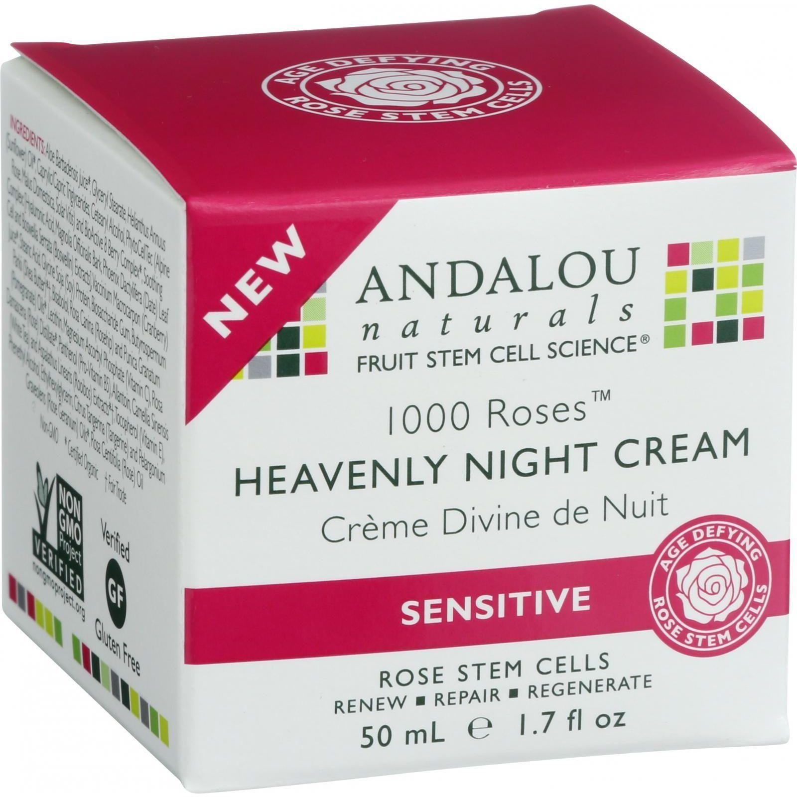 Andalou Naturals Heavenly Night Cream  1000 Roses  1.7 oz