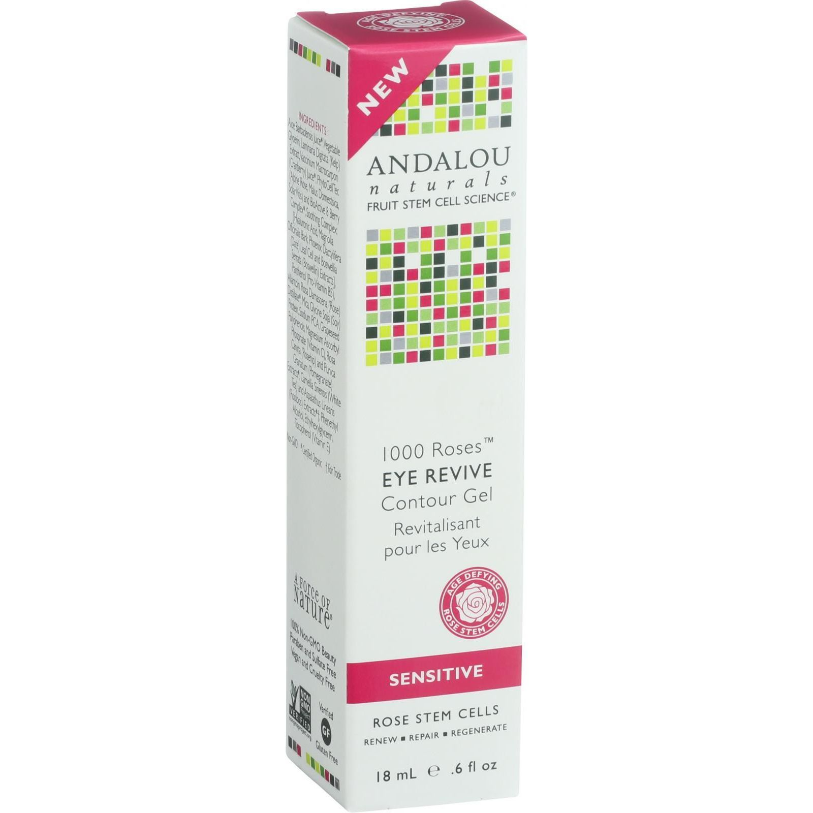 Andalou Naturals Eye Revive Contour Gel  1000 Roses  .6 oz