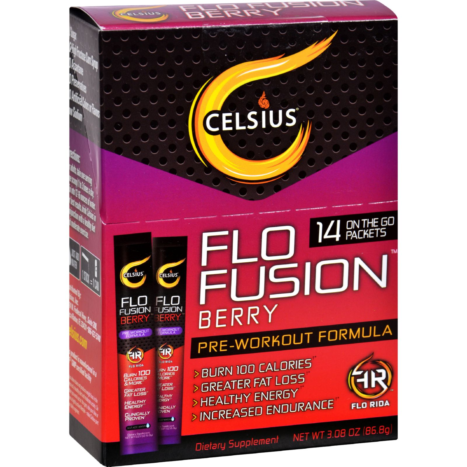 Celsius Flo Fusion  Powder Sticks  Berry  14 Packets