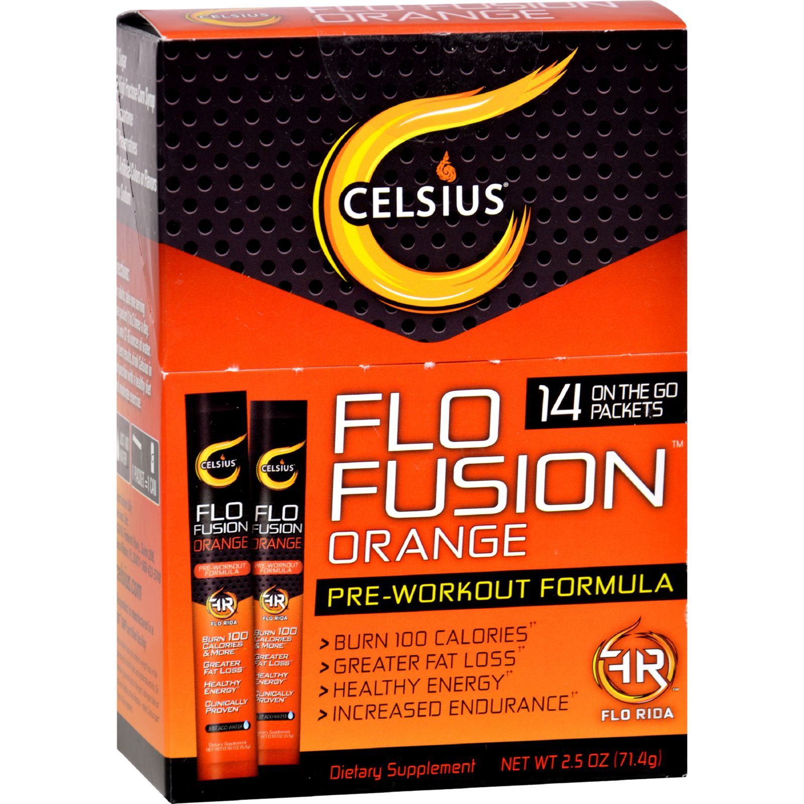 Celsius Flo Fusion  Powder Sticks  Orange  14 Packets