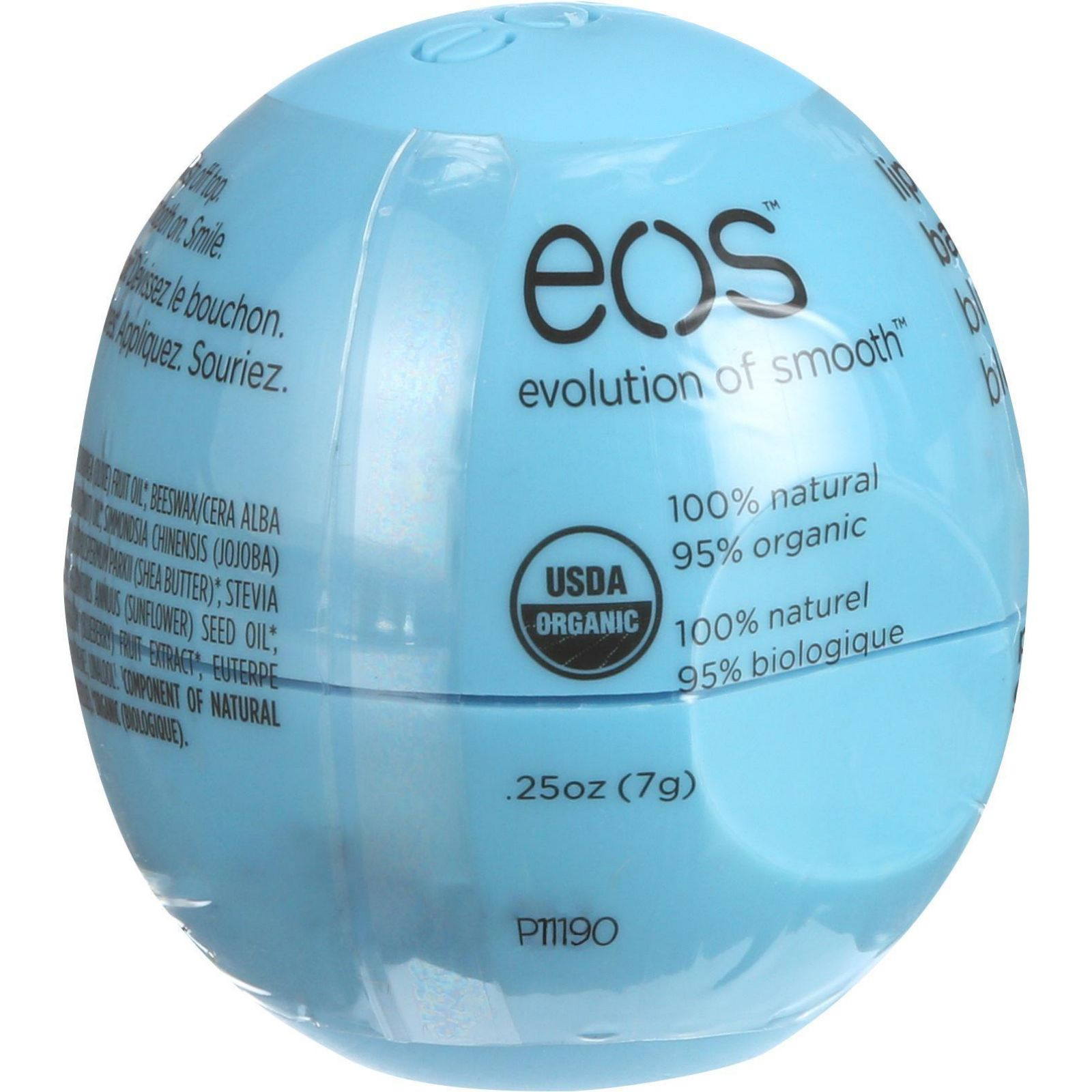 Eos Products Lip Balm  Smooth Sphere  Organic  Blueberry Acai  .25 oz  Case of 8