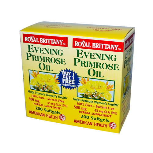 American Health Royal Brittany Evening Primrose Oil 500 mg 2 Bottles of (200 Sofgels)
