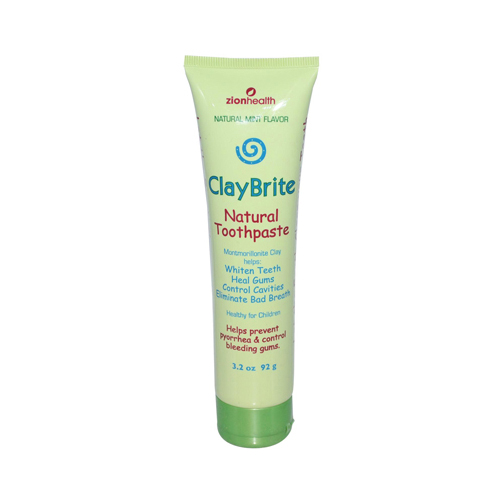 Zion Health ClayBrite Natural Toothpaste Natural Mint 3.2 Oz