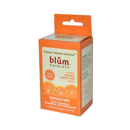 Blum Naturals Exfoliating Daily Cleansing Towelettes with Microbeads (10 Towelettes)