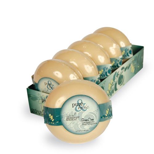 Pure and Basic Natural Deodorant Bar Soap Green Tea (6 x6.4 Oz)