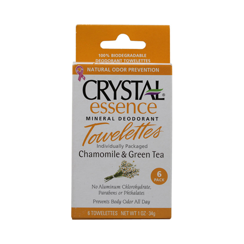 Crystal Essence Mineral Deodorant Towelettes Chamomile and Green Tea (1x6 Towelettes)