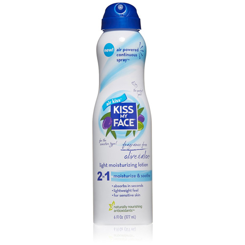Kiss My Face Lotion 2 in 1 Continuous Spray Olive Oil Aloe 6 fl Oz