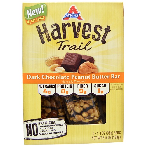 Atkins Harvest Trail Bar  Dark Chocolate Peanut Butter  1.3 oz  Case of 9